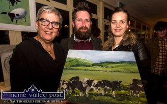Nana Bea's Cafe proprietor, Shirley Higgins (left) pictured with artists, Pádraig Moynihan and Catriona Kelliher, Tralee at the Starving Artists / Island Sessions Exhibition at Nana Bea's Cafe in Castleisland on Saturday night. ©Photograph: John Reidy