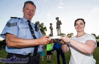Helena Falvey, KDYS making a presentation to event founder and her co-organiser, Sgt. John O'Mahony in appreciation for his abiding interest and constant involvement in the annual KDYS / An Gárda Siochána Soccer Blitz at Castleisland AFC grounds last June. ©Photograph: John Reidy 28-6-2018