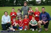 The Desmonds Avenue U-10 soccer team which emerged 2007 Garda / KDYS Soccer League Champions at Limerick Road. included are: Geraldine O'Sullivan, KDYS; Brian Leonard, Ben Cooney, Shane McLoughlin, Captain; Kevin Nelligan and Sgt. John O'Mahony, competition founder. Back from left: Charlie Cooney, Kevin Keane, Síle Kerley, Coach; Matthew Browne and Aaron Nolan. ©Photograph: John Reidy 29/06/2007