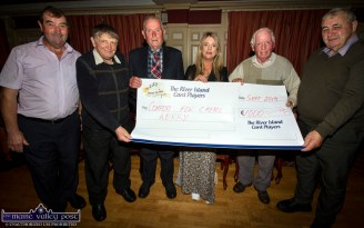 Cora Walsh, Comfort for Chemo Kerry receiving a cheque from members of the River Island Horel Card Players on Sunday night. Included are fromm left: Donie Cremins, Dave O'Mahony, John McMahon, Jack Kelly and David Nash. ©Photograph: John Reidy