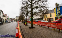 Work on Castleisland's central strip paving blocks in progress last February. The work was carried out by Kerry County Council staff, Martin Stephenson and Flor McAuliffe under the watch of area engineer, Brendan Mulhearn. ©Photograph: John Reidy 19-2-2019