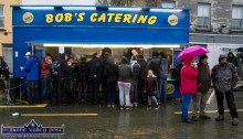 Bob was catering away mad all day as the rain and cold weather took its toll on the gathering at Friday's annual November 1st Horse Fair Dayin Castleisland. ©Photograph: John Reidy