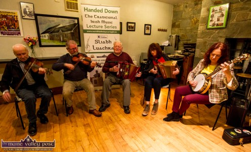 The Scully's Bar, Newmarket troupe getting in a few bars before their stage performance at the opening night of the 2019 series of Handed Down at Scartaglin Heritage Centre. Included are: John Walsh, Raymond O'Sullivan, Timmy O'Connor, Lisa and Siobhán Cronin. ©Photograph: John Reidy 19-10-2019