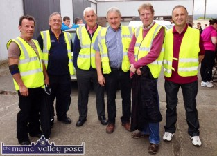 Castleisland Race Committee stewards preparing for the start of the Humphrey Murphy Memorial 5K charity fund-raiser at Limerick Road in 2014. Included are from left: Timmy Murphy RIP; Pat Hartnett, Tom O'Sullivan, John Ryan, Ted Kenny and Martin Conway. ©Photograph: John Reidy 13-6-2014