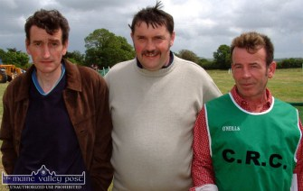 At Castleisland Races on a Sundayafternoon in June 2004. From left: Thomas O'Shea and Tommy Reidy, Cordal with Timmy Murphy, RIP, Castleisland. ©Photograph: John Reidy 27-6-2004