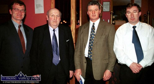 County secretary Anthony O'Keeffe (left) pictured at the Castleisland Desmonds GAA Club unveiling at the River Island Hotel with Chairman Jimmy Greaney, Mikey O'Connor, keynote speaker and Michael John Kearney, financial director. ©Photograph: John Reidy 8-2-2002