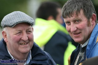 The late Jimmy Greaney (left) and James Maher enjoying the atmosphere at the annual Castleisland Races on a Saturday afternoon in 2011. ©Photograph: John Reidy 18-6-2011