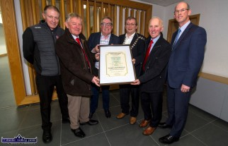 Castleisland / Corca Dhuibhne Municipal District Chairman Cllr. Brenndán Fitzgerald (centre right) presenting the Kerry County Council scroll to St. Mary's Basketball Club members. Included are, from left: Eamonn Egan, Ned O'Callaghan, Cllr. Bobby O'Connell and Cllr. Fitzgerald, Donal 'Duke' O'Connor, Castleisland Basketball Blitz founder and director and municipal district Manager John Breen at the civic reception for the club to mark the golden jubilee of the Christmas time event. ©Photograph: John Reidy 15-1-2020