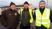 Local men, John Sheehan (left) with William Curtin and Dave Curtin at the start of the Kerrie Browne 5K memorial run / walk in Brosna on Sunday morning. ©Photograph: John Reidy