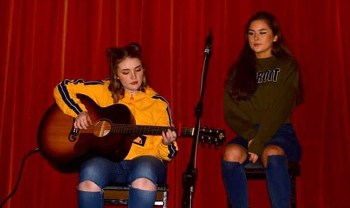 Alannah O'Leary and April O'Connor pictured during their stage performance at the Presentation / St. Patrick's joint and annual talent show. Photograph: Katie O'Reilly.