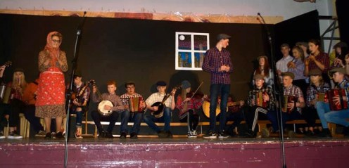 The traditional 'Rambling House' scene which provided the opener for the Presentation / St. Patrick's joint and annual talent show at St. John's Hall. Photograph: Katie O'Reilly.