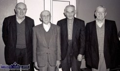 Four local men at a Wednesday Over 55 Social Club gathering at Knocknagoshel Community Centre in 1998 were, from left: Patsy O'Connor, Willie Roche, Joseph O'Connell and Seán O'Lyons. ©Photograph: John Reidy 25-3-1998