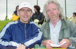 Noel Berkeley, Dundrum South Dublin AC and 1992 Barcelona Olympian (left) with Richard Gallagher at the official opening of An Ríocht AC track in Castleisland on June 2000. ©Photograph: John Reidy