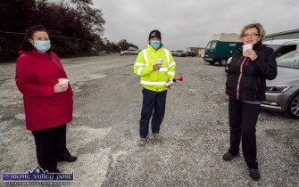 Laura Collins, Milltown (left) pictured with Gerry Fagan and Martina O'Mahony, Castleisland at the Castleisland Drive-In-Bingo on Sunday's session. ©Photograph: John Reidy