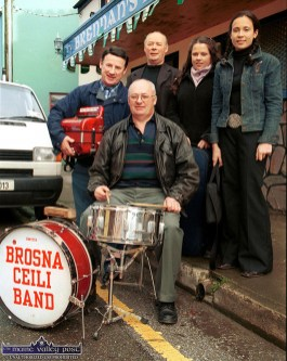 Members of the Mulcahy family from Abbeyfeale involved in the 2002 Céilí House recording in Castleisland which will be re-broadcast on RTE Radio 1 on Saturday night at 9 pm. Included are: Pat Mulcahy on drums with at back: Michael, Neilus, Michelle and Louise Mulcahy - all members of the Brosna Céilí Band for the recording. ©Photograph: John Reidy 10-11-2002