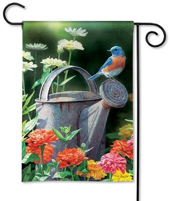 Watering Can Bird Garden Flag