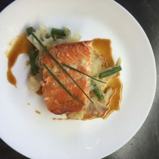 Marinated trout with fresh cabbage