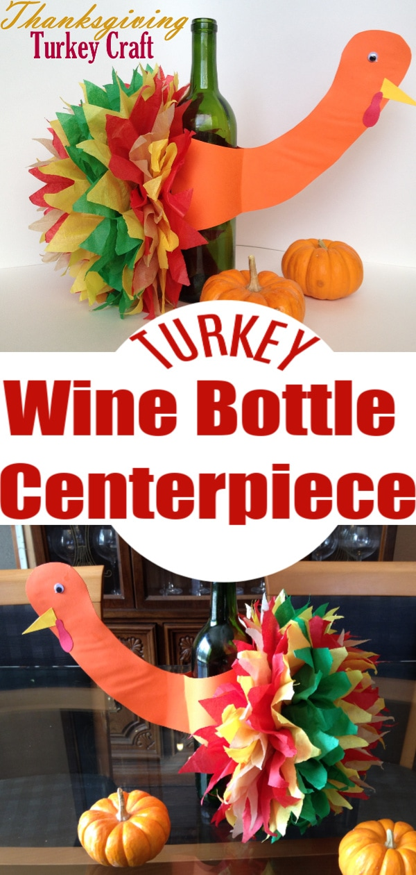 Wine Bottle Turkey Table Centerpiece