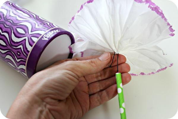 Kleenex Tissue Flower with Straw
