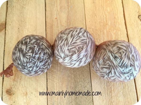 Homemade wool dryer balls in panty hose