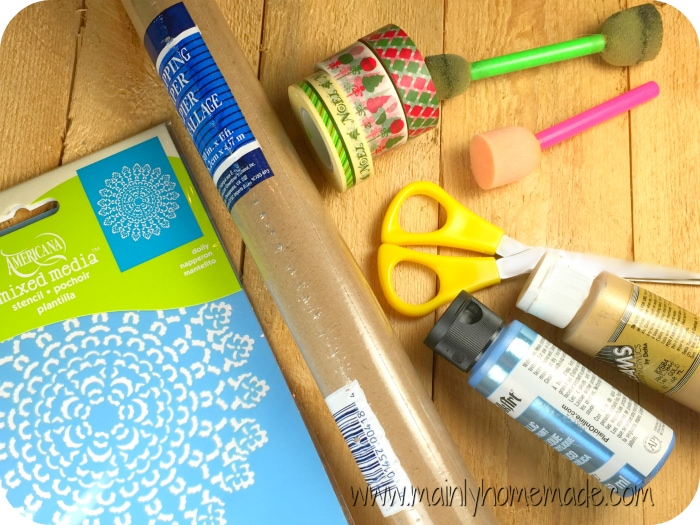 Supplies for homemade wrapping paper