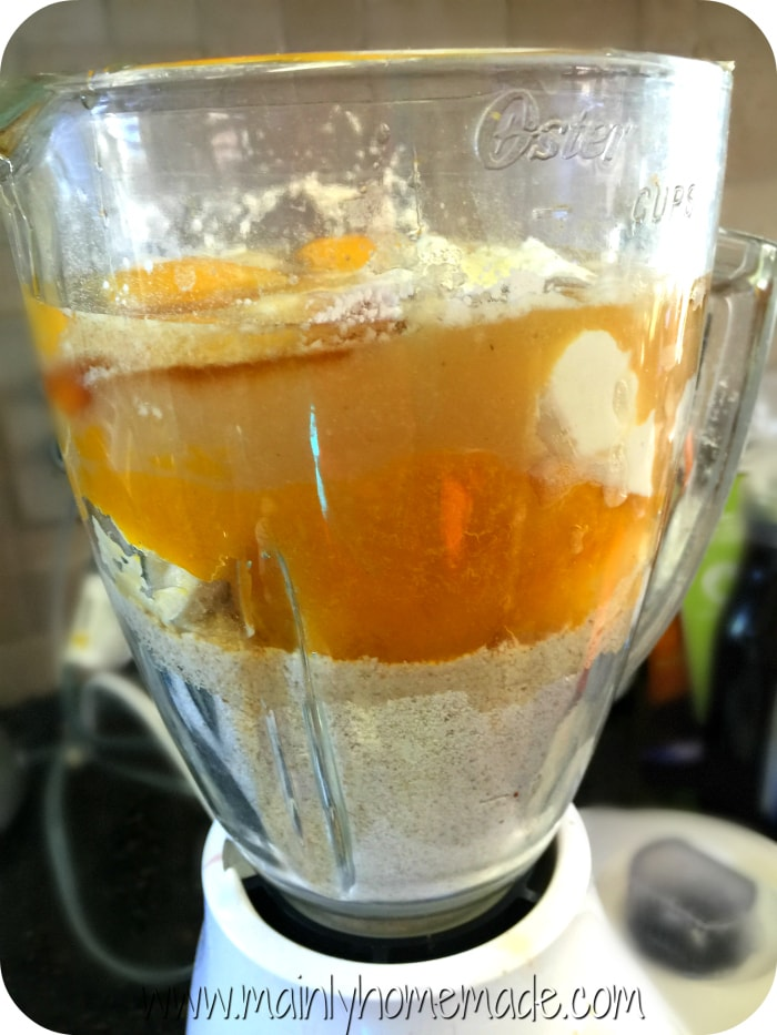 pumpkin muffins in a blender