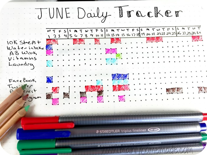 Daily Tracker for Bullet Journal Goal Setting