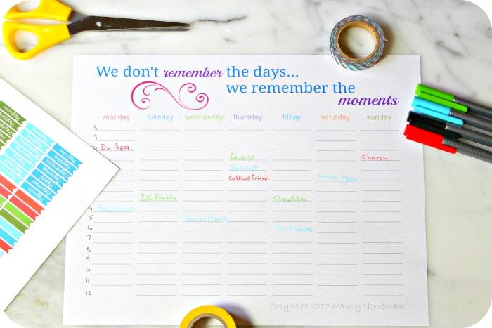 weekly planner printable calendar