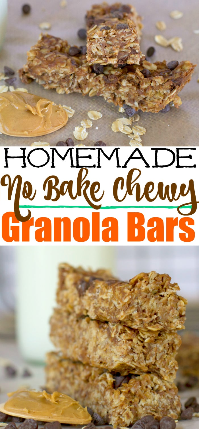 Peanut Butter no bake homemade chewy granola bars