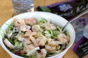 Shrimp and kale salad in a bowl