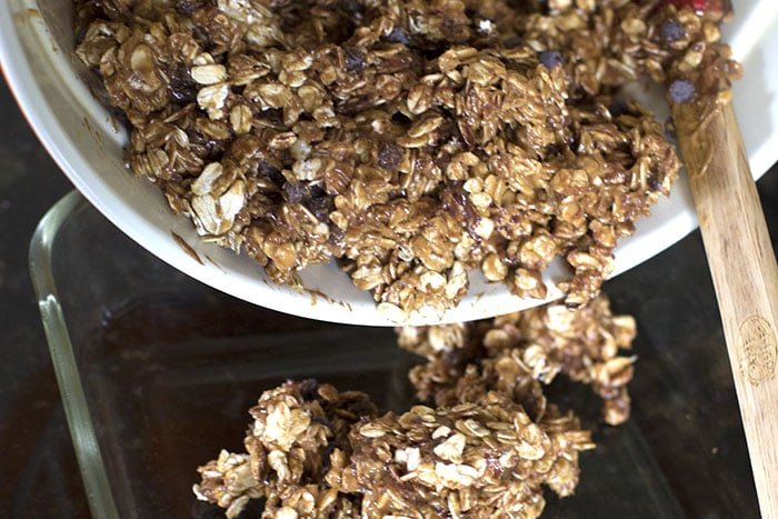 homemade chewy granola bars in pan