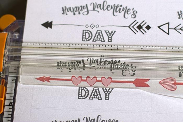 Cutting arrow valentine cards