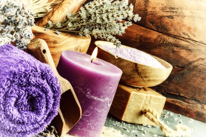 Purple candle spa day at home