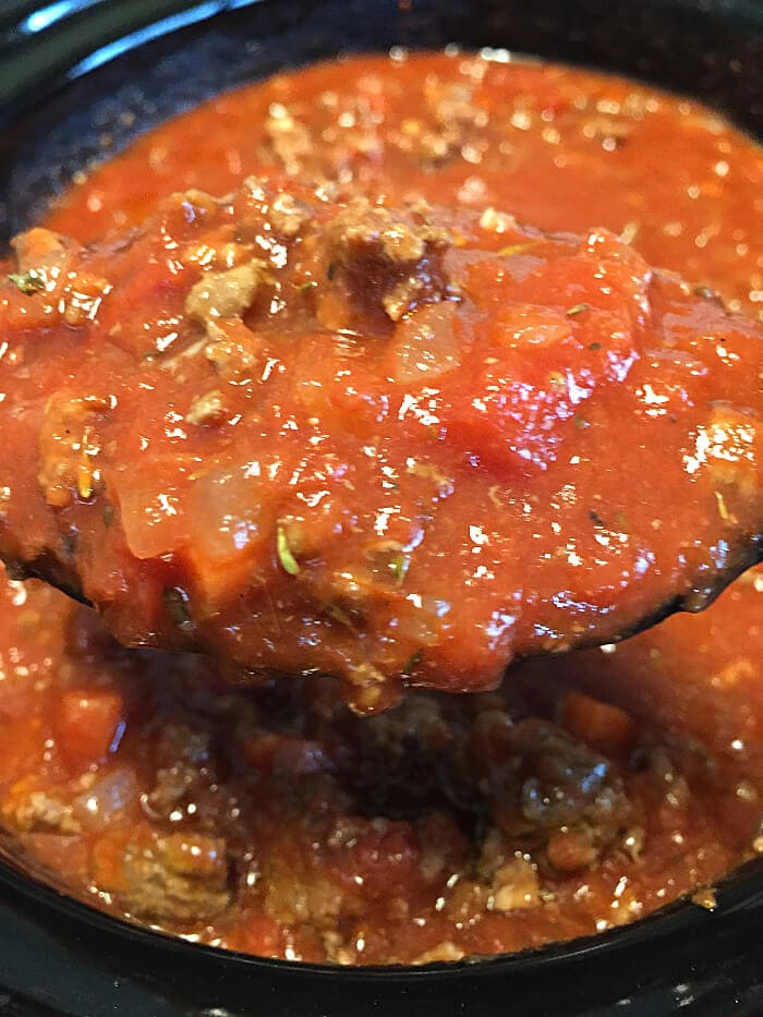 red sauce in the slow cooker