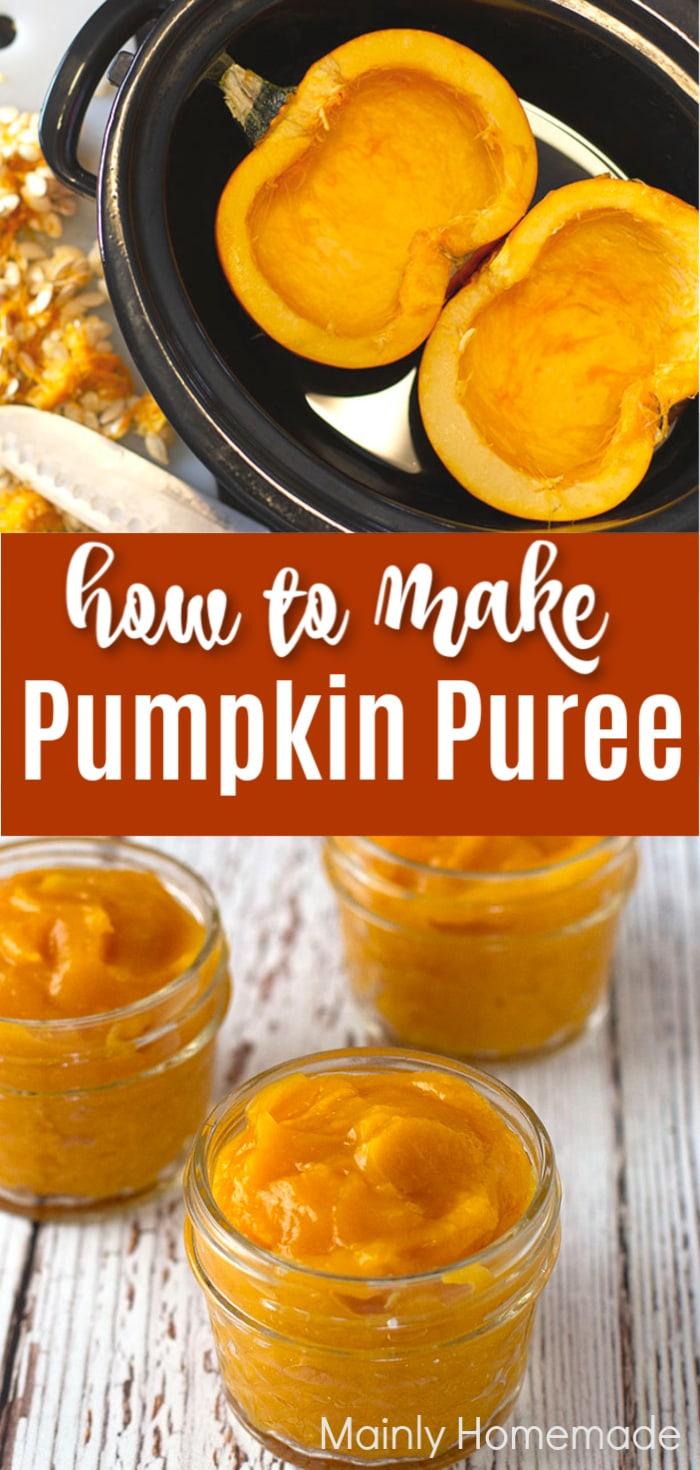 pumpkin in slow cooker and pumpkin puree in jars