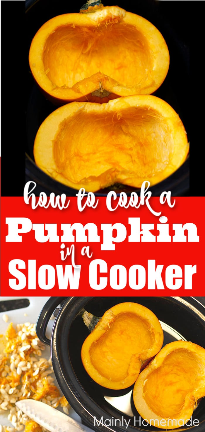 Learn how to cook a whole pumpkin in a slow cooker for fresh pumpkin flavor. Easy to do with very little effort. Tips and tricks for easy pumpkin prep.