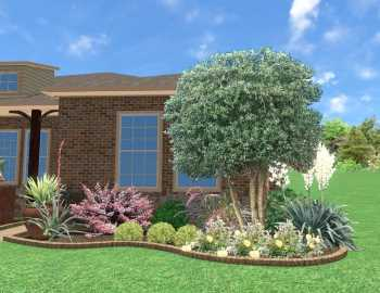 Front yard landscape makeover, Little Elm Texas, 3D digital landscape design