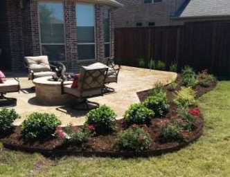 Outdoor Design Project Frisco After Outdoor Kitchen, Fire Pit and Landscape Bed Installation. Main Street Lawn Care and Landscaping best landscaping designers created a back yard oasis for this Frisco Texas homeowner.
