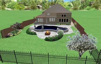 Swimming Pool Landscaping Design for Prosper Texas resident. Image shows finished pool area complete with fire pit, paver patio, pergola, Zoysia sod grass and landscaping plant beds with stone borders.