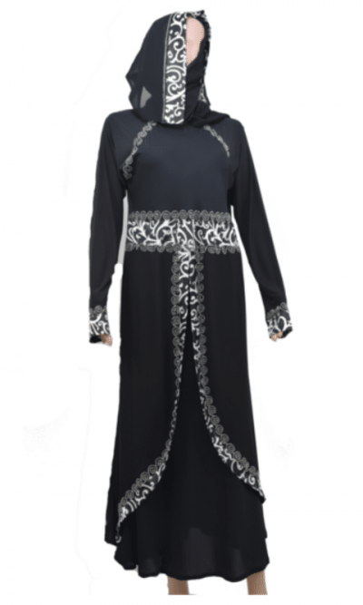 Front Layered Black Abaya
