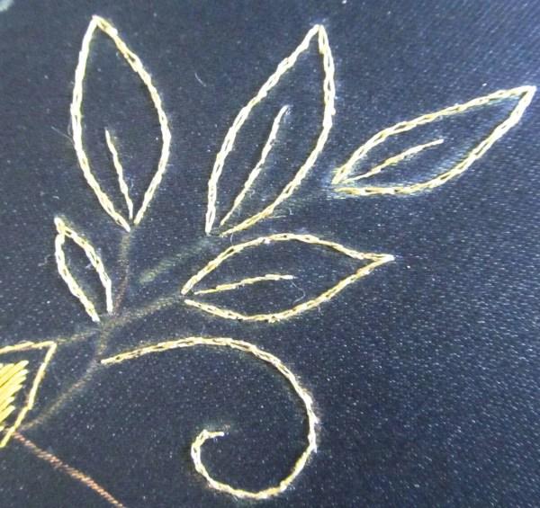 Heavy Metals threads in split stitch