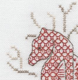 Seahorse blackwork and cross stitch kit detail