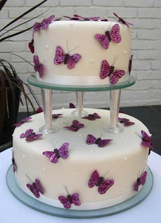 Silk butterfly wedding cake