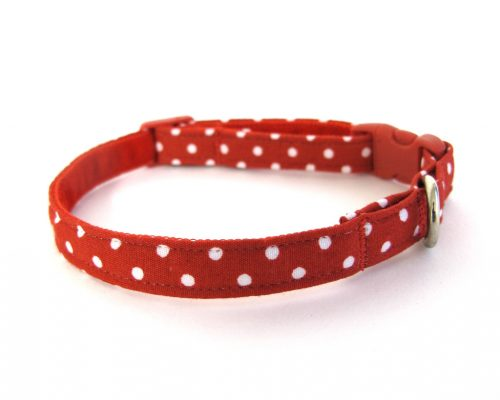Red Polka Dot Teeny Weeny Dog Collar