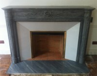 Fireplace's marble hearth floors