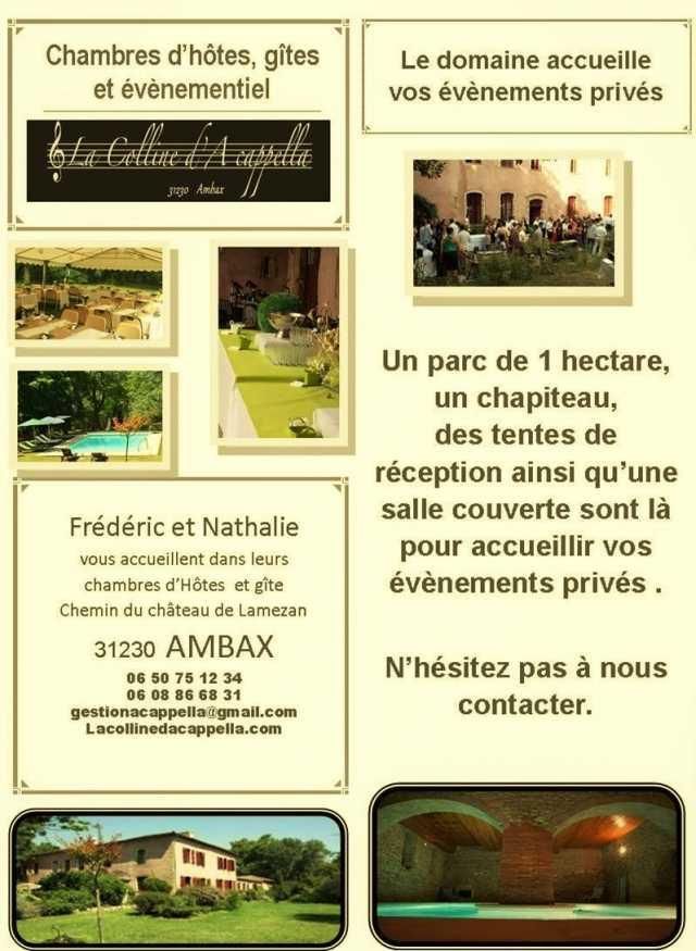 La colline da cappella chambres  suites gite 8 personnes  Ambax Haute Garonne 31