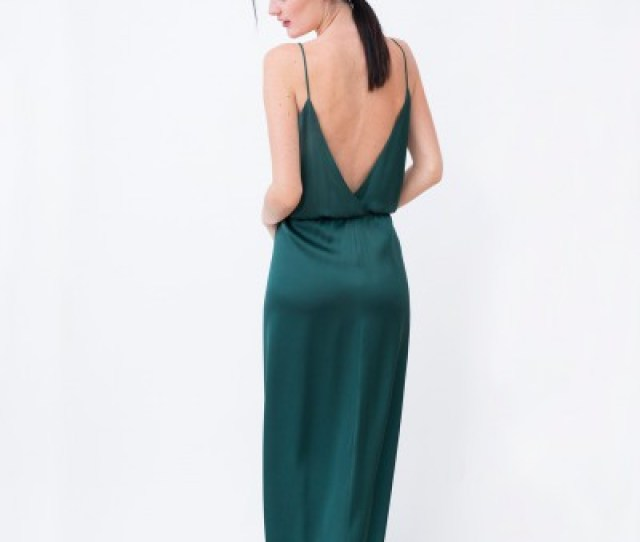 Long Silk Dress In Emerald Green Color With Thin Silk Straps Backless Dress With A Slit On The Front Of The Dress