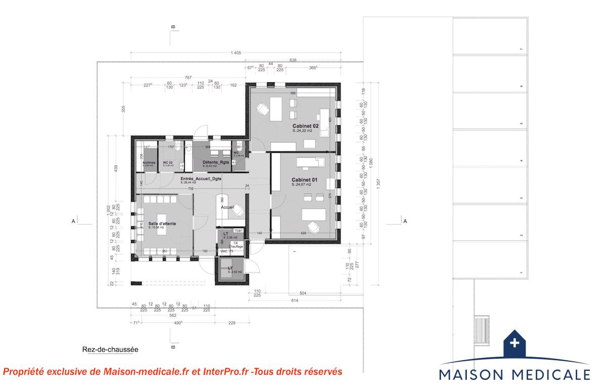 Plan Centre De Soins Moderne 2 Cabinets