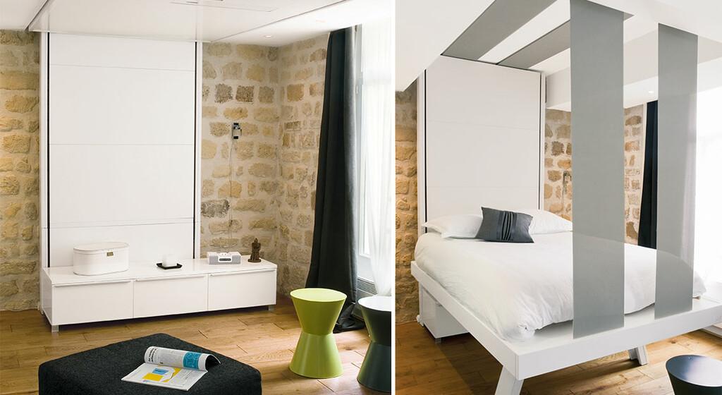 lit escamotable cachez le au plafond