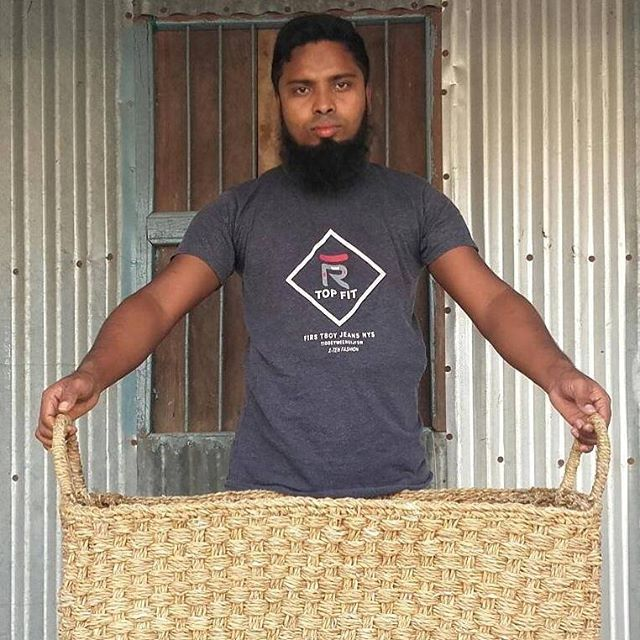 Solidarity in adversity -  In these profoundly uncertain times fair trade is addressing the current challenges in diametrically opposed ways to some of the global brands. We are NOT cancelling orders, we are NOT demanding discounts or deferred payment terms. Instead, we are planning our next shipments and sampling new designs. Here is Rabiul with a new large rectangular hogla storage basket